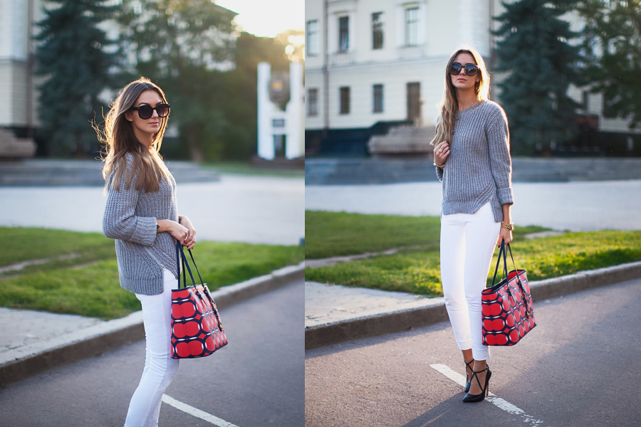 white-jeans-grey-sweater-outfit